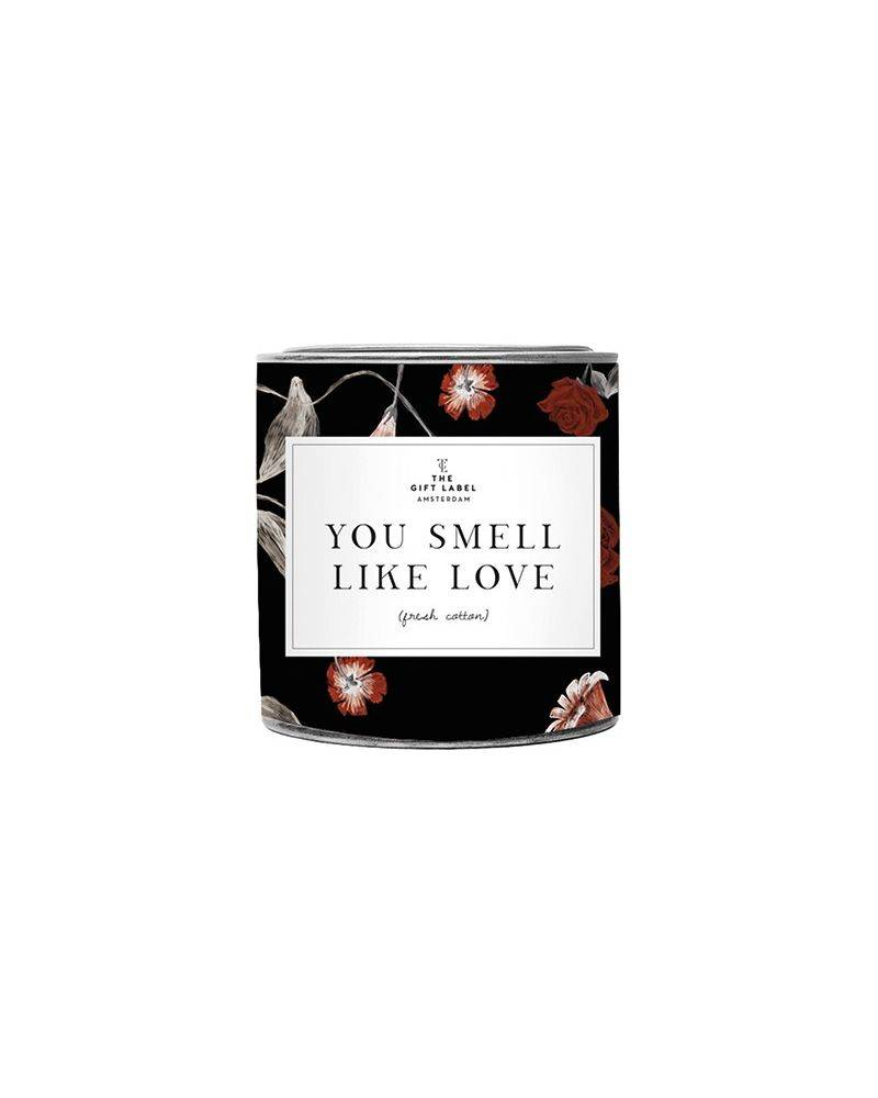 Duftlys 310 gr. - You smell like love - The gift label